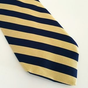 BROOKS BROTHERS YELLOW GOLD & NAVY STRIPE TIE